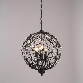 3 Light Vintage/Retro Globe Crystal Pendant Lights for Living Room, Bedroom, Dining Room