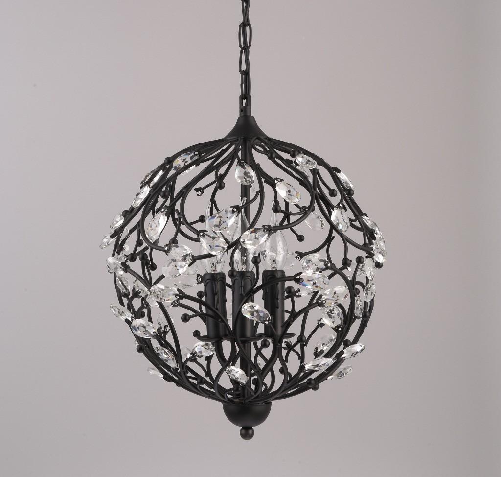 3 Light Vintage Retro Globe Crystal Pendant Lights For Living Room Bedroom Dining Room