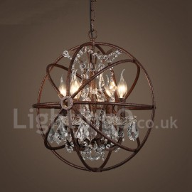 4 Light Diameter 40CM Vintage Crystal Globe Painting Metal Chandeliers Dining Room / Study Room/Office / Entry / Hallway Rusty C