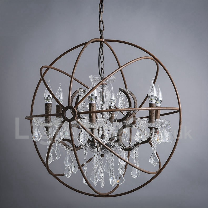 MAX:60W Diameter 60CM - 80CM Vintage Crystal Painting Metal Chandeliers Dining Room / Study Room/Office / Entry / Hallway Rusty Colour Pendant Light