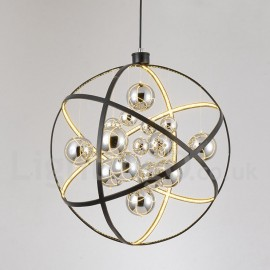 LED Diameter 50CM - 80CM Vintage Globe Chandeliers Dining Room / Study Room/Office / Entry / Hallway Rusty Colour Pendant Light