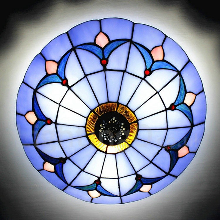 the best attitude b7977 c32c6 Tiffany Flush Mount Blue Stained Glass 12 inch Flush Mount Ceiling Light