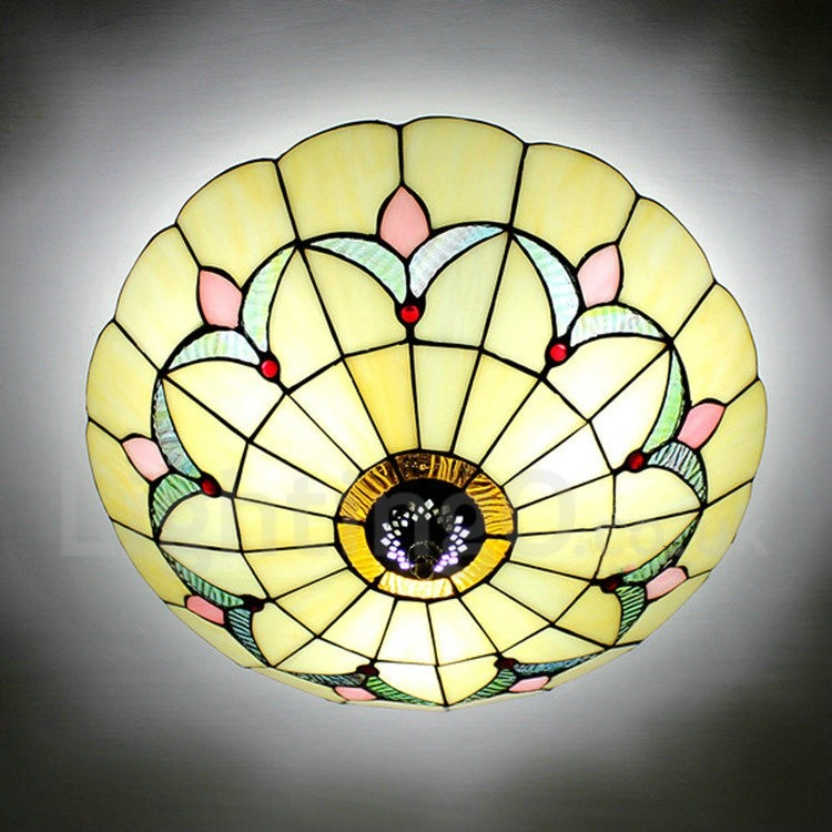 Tiffany Flush Mount Blue Stained Glass 12 Inch Flush Mount