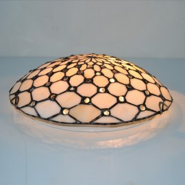 12 inch Tiffany Flush Mount Beige Stained Glass Tiffany Two-light Flush Mount Ceiling Light