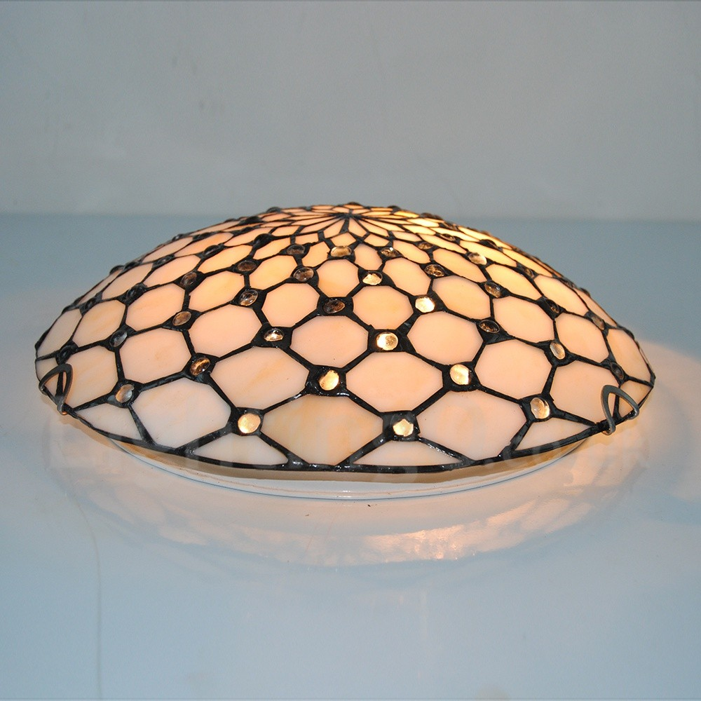 promo code a6369 35a19 12 inch Tiffany Flush Mount Beige Stained Glass Tiffany Two-light Flush  Mount Ceiling Light