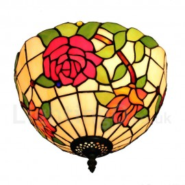 Diameter 30cm (12 inch) Handmade Rustic Retro Tiffany Flush Mounts Colorful Rose Pattern Shade Bedroom Living Room Dining Room