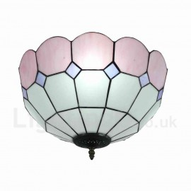 Diameter 40cm (16 inch) Handmade Rustic Retro Tiffany Flush Mounts Mesh Pattern Pink Edge Shade Bedroom Living Room Dining Room