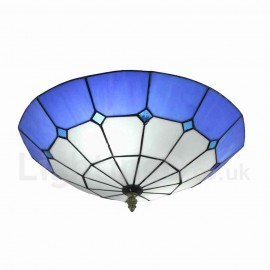 Diameter 40cm (16 inch) Handmade Rustic Retro Tiffany Flush Mounts Mesh Pattern Blue Edge Shade Bedroom Living Room Dining Room