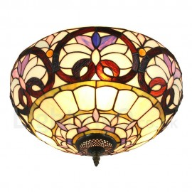 Diameter 40cm (16 inch) Handmade Rustic Retro Tiffany Flush Mounts Colorful Pattern Shade Bedroom Living Room Dining Room