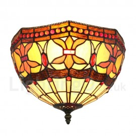 Diameter 30cm (12 inch) Handmade Rustic Retro Tiffany Flush Mounts Colorful Pattern Shade Bedroom Living Room Dining Room