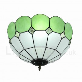 Diameter 40cm (16 inch) Handmade Rustic Retro Tiffany Flush Mounts Mesh Pattern Green Edge Shade Bedroom Living Room Dining Room