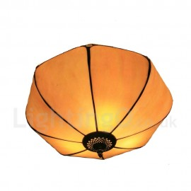 Diameter 30cm (12 inch) Handmade Rustic Retro Tiffany Flush Mounts Umbrella Shaded Shade Bedroom Living Room Dining Room