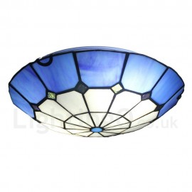 Diameter 30cm (12 inch) Handmade Rustic Retro Tiffany Flush Mounts Grid Blue Edge Shade Bedroom Living Room Dining Room