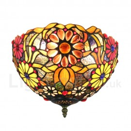 Diameter 30cm (12 inch) Handmade Rustic Retro Tiffany Flush Mounts Bana Pattern Shade Bedroom Living Room Dining Room