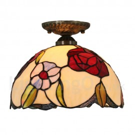 Diameter 30cm (12 inch) Handmade Rustic Retro Tiffany Flush Mounts Colorful Flower Pattern Shade Bedroom Living Room Dining Room