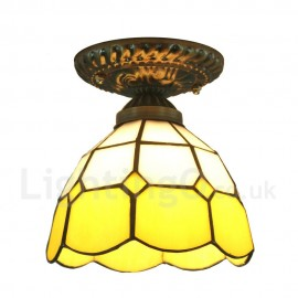 Diameter 30cm (12 inch) Handmade Rustic Retro Tiffany Flush Mounts Grid Yellow Edge Shade Bedroom Living Room Dining Room