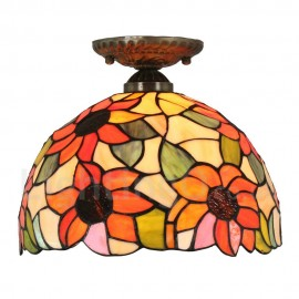 Diameter 30cm (12 inch) Handmade Rustic Retro Tiffany Flush Mounts Sunflower Pattern Shade Bedroom Living Room Dining Room