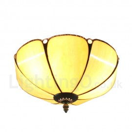 Diameter 30cm (12 inch) Handmade Rustic Retro Tiffany Flush Mounts Umbrella Shaped Shade Bedroom Living Room Dining Room