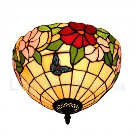 Diameter 30cm (12 inch) Handmade Rustic Retro Tiffany Flush Mounts Butterfly Gathering Flower Pattern Shade Bedroom Living Room Dining Room