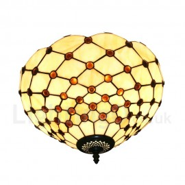Diameter 30cm (12 inch) Handmade Rustic Retro Tiffany Flush Mounts Mesh Pattern Shade Bedroom Living Room Dining Room