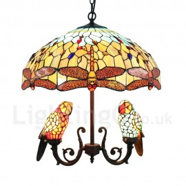 Tiffany Chandelier Handmade Rustic Retro Glass Parrot and Orange Dragonfly Glass Shade Bedroom Living Rroom Dining Room Light 5 Lights