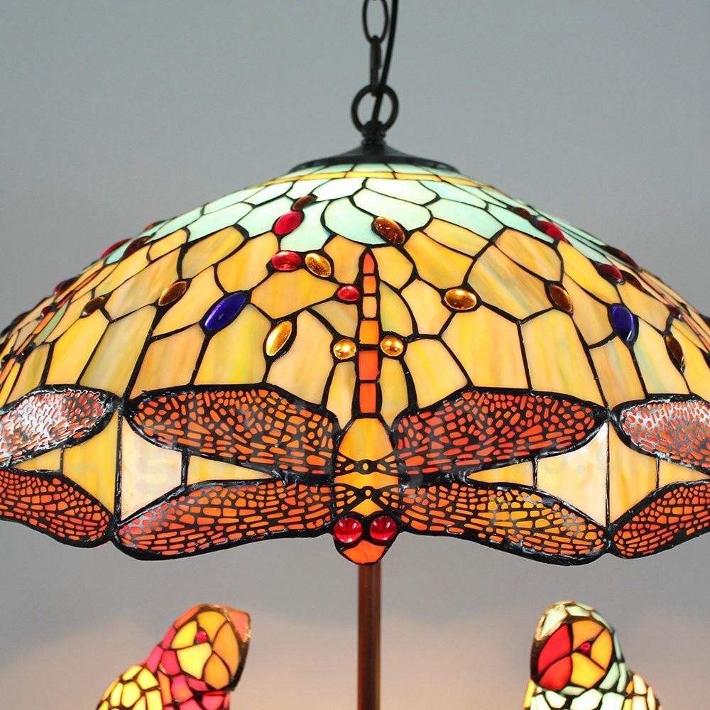 Tiffany chandelier handmade rustic retro glass parrot and orange tiffany chandelier handmade rustic retro glass parrot and orange dragonfly glass shade bedroom living rroom dining arubaitofo Images