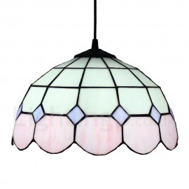 Diameter 30cm (12 inch) Handmade Rustic Retro Tiffany Pendant Light Pink and White Pattern Glass Shade Bedroom Living Room Dining Room
