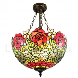 Diameter 40cm (16 inch) Handmade Rustic Retro Chandeliers Rose Pattern Glass Shade Bedroom Living Room Dining Room
