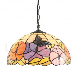 Diameter 40cm (16 inch) Handmade Rustic Retro Tiffany Pendant Lights Butterfly Flowers Pattern Glass Shade Bedroom Living Room Dining Room