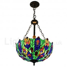Diameter 40cm (16 inch) Handmade Rustic Retro Chandeliers Multicolor Leaves Pattern Glass Shade Bedroom Living Room Dining Room