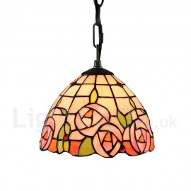 Diameter 20cm (8 inch) Handmade Rustic Retro Tiffany Pendant Light Colorful Flowers Pattern Glass Shade Bedroom Living Room Light