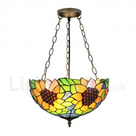 Diameter 40cm (16 inch) Handmade Rustic Retro Chandeliers Sunflower Pattern Glass Shade Bedroom Living Room Dining Room