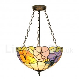 Diameter 40cm (16 inch) Handmade Rustic Retro Chandeliers Butterfly Flower Pattern Glass Shade Bedroom Living Room Dining Room