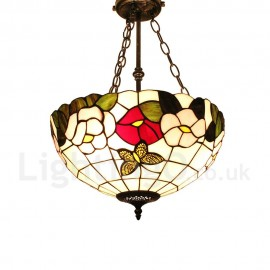 Diameter 40cm (16 inch) Handmade Rustic Retro Chandeliers Multicolor Flower Pattern Glass Shade Bedroom Living Room Dining Room