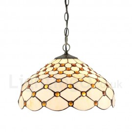 Diameter 40cm (16 inch) Handmade Rustic Retro Tiffany Pendant Lights Scale Pattern Glass Shade Bedroom Living Room Dining Room