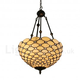 Diameter 40cm (16 inch) Handmade Rustic Retro Chandeliers Scale Pattern Glass Shade Bedroom Living Room Dining Room