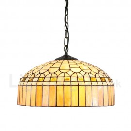 Diameter 40cm (16 inch) Handmade Rustic Retro Tiffany Pendant Lights Crystal Palace Top Shape Glass Shade Bedroom Living Room Dining Room