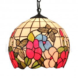 Diameter 30cm (12 inch) Handmade Rustic Retro Tiffany Pendant Light Butterfly and Flower Pattern Glass Shade Bedroom Living Room Dining Room