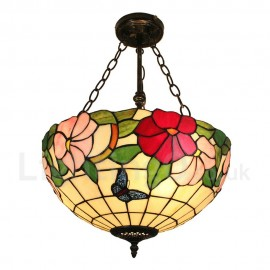 Diameter 40cm (16 inch) Handmade Rustic Retro Chandeliers Butterfly and Flower Pattern Glass Shade Bedroom Living Room Dining Room