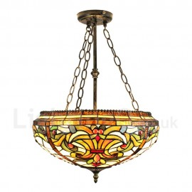 Diameter 40cm (16 inch) Handmade Rustic Retro Chandeliers Multicolor Pattern Glass Shade Bedroom Living Room Dining Room