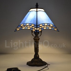 Bedside Tiffany Table Lamp with One-light in Blue Stained Glass Tiffany Style