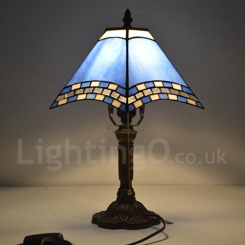 Bedside Tiffany Table Lamp With One Light In Blue Stained Glass Tiffany Style Lightingo Co Uk