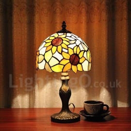 Handmade Country Vintage Sunflower Pattern Glass Shade Indoor Tiffany Table Lamp Bedroom Tiffany Table Light