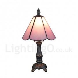 6inch Handmade Rustic Retro Tiffany Table Lamp Pink Lamp Shade Bedroom Living Room Dining Room