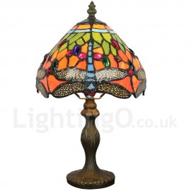 Handmade Rustic Retro Tiffany Table Lamp Resin Base Blue Dragonfly Pattern Bedroom Living Room Dining Room Diameter 20cm (8 inch) Lampshade