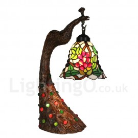 Handmade Rustic Retro Tiffany Table Lamp Peacock Resin Base Grape Pattern Bedroom Living Room Dining Room Diameter 20cm (8 inch) Lampshade