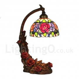 Handmade Rustic Retro Tiffany Table Lamp Red Rose Resin Base Colorful Flower Pattern Bedroom Living Room Dining Room Diameter 20cm (8 inch) Lampshade