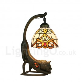 Handmade Rustic Retro Tiffany Table Lamp Little Cat Base Colorful Pattern Bedroom Living Room Dining Room Diameter 20cm (8 inch) Lampshade