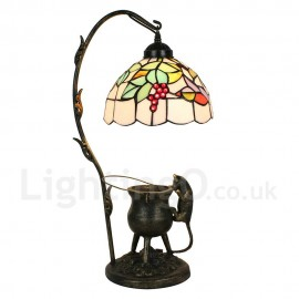 Handmade Rustic Retro Tiffany Table Lamp Pilfering Cat Grape Pattern Bedroom Living Room Dining Room Diameter 20cm (8 inch) Lampshade