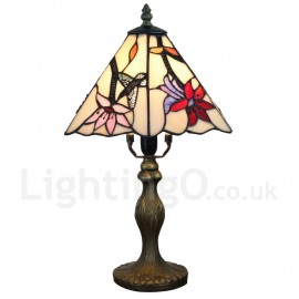 Handmade Rustic Retro Tiffany Table Lamp Resin Base Hummingbird Gathering Flower Pattern Bedroom Living Room Dining Room Diameter 20cm (8 inch) Lampshade